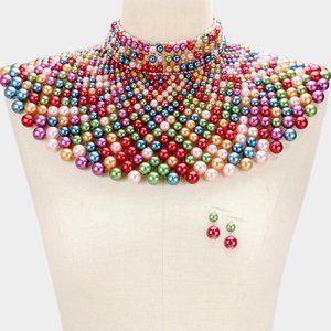Multicolored Pearl Armor Bib Choker Necklace A